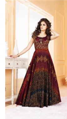 Maroon Digital Print Gown